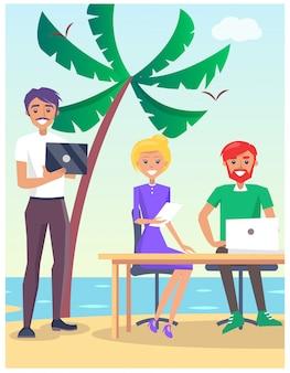 Ilustración de viaje de negocios con personas sentadas a la mesa en la playa con computadoras modernas