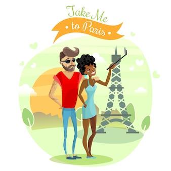 Ilustración de viaje romántico