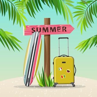 Ilustración de viaje de vacaciones de verano