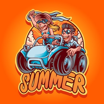 Ilustración de viaje de verano