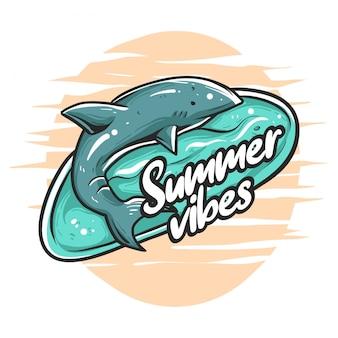 Ilustración de vibraciones de tiburón de verano
