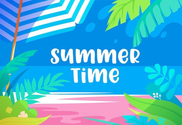 Ilustración vibrante del horario de verano con hojas de palmera, plantas tropicales exóticas, playa de arena, sombrilla y vistas al mar