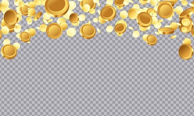 Ilustración de victoria de casino de jackpot de monedas de oro. salpicaduras de dinero en efectivo de oro