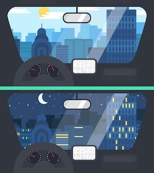 Ilustración de la vida en la ciudad desde el coche
