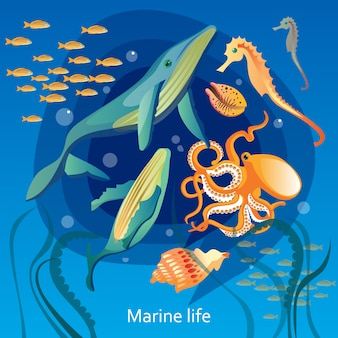 Ilustración de la vida submarina del océano