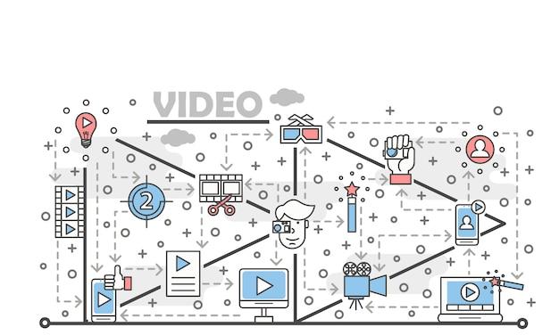 Ilustración de video de arte de línea delgada de vector