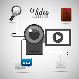 Ilustración de video marketing con dispositivos e íconos de redes sociales