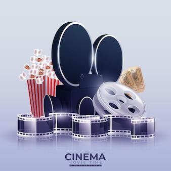 Ilustración con videocámara de cine, palomitas de maíz y entradas.