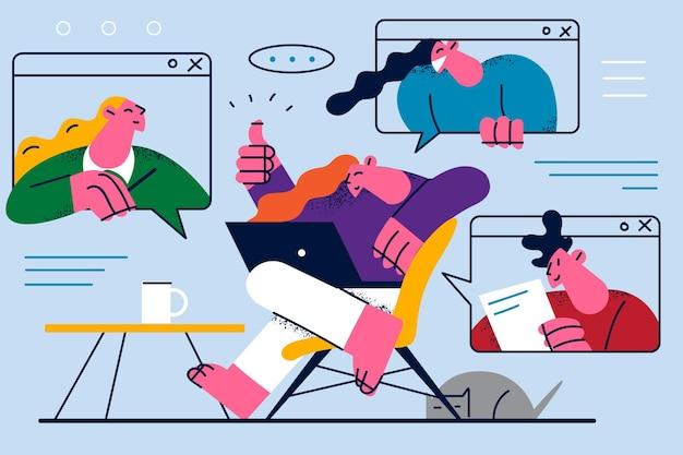 Ilustración de videoconferencia y comunicación en línea.