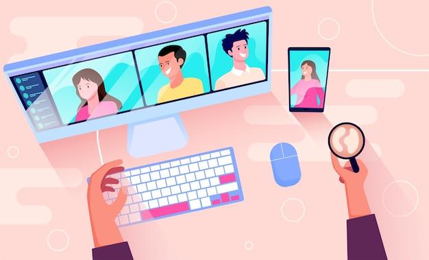 Ilustración de videoconferencia