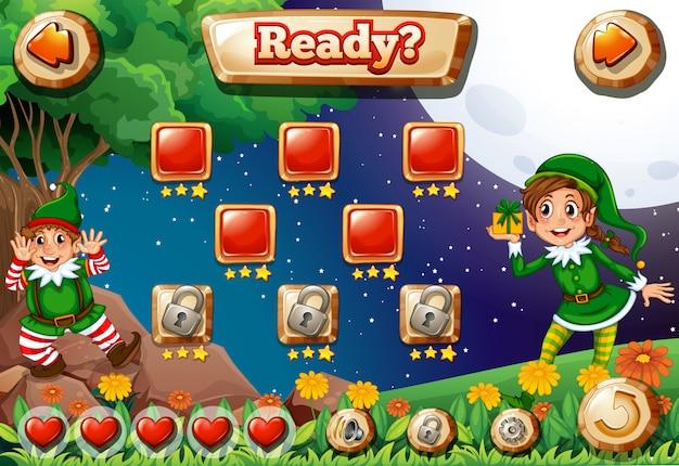 Ilustración de videojuego de pantalla con duendes