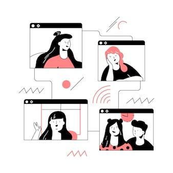 Ilustración de videollamada de amigos dibujados a mano