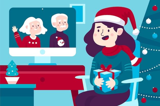 Ilustración de videollamada familiar de navidad