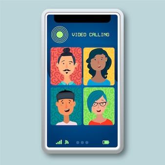Ilustración de videollamadas de amigos en teléfonos inteligentes