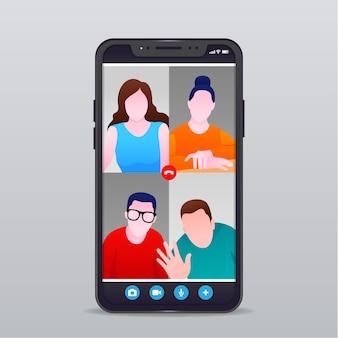 Ilustración de videollamadas de amigos