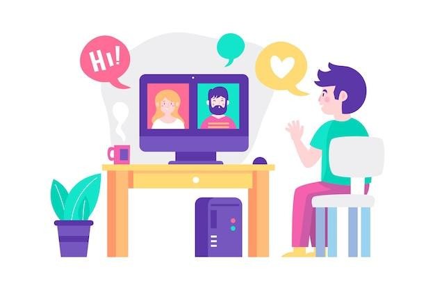 Ilustración con videollamadas de amigos