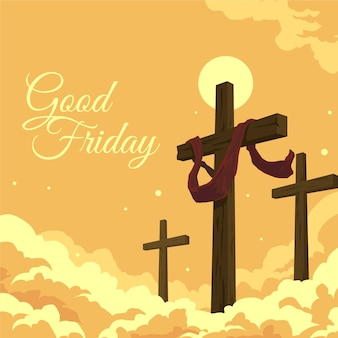 Ilustración de viernes santo con cruces
