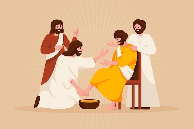 Ilustración de viernes santo con jesús y discípulos lavándose los pies