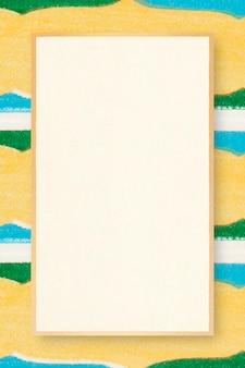 Ilustración vintage amarilla de marco cuadrado de patrón japonés