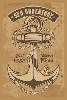Ilustración vintage de un ancla con cuerda. todos los elementos y el texto están en grupos separados.
