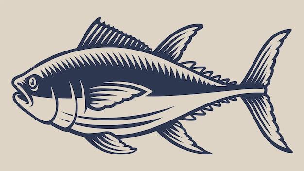 Ilustración vintage con un atún sobre un fondo blanco.