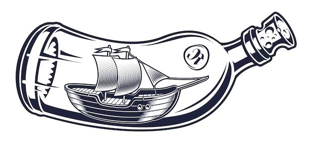 Ilustración vintage de una botella con barco dentro sobre el fondo blanco. todos los elementos están aislados y se pueden utilizar por separado