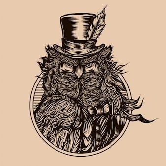 Ilustración vintage de búho caballero