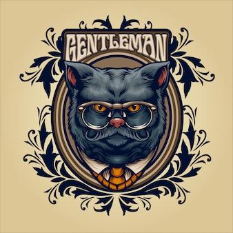 Ilustración vintage de caballero gato gris