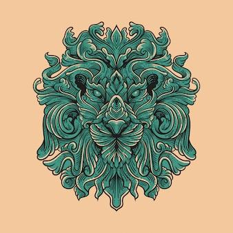 Ilustración vintage cabeza de león ilustración ornamental estilo de grabado