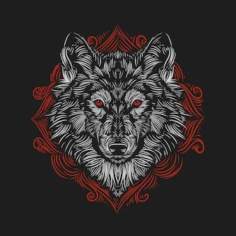 Ilustración vintage cabeza de lobo contra el estilo de grabado de un adorno rojo