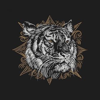 Ilustración vintage cabeza de tigre con adornos marrones estilo de grabado