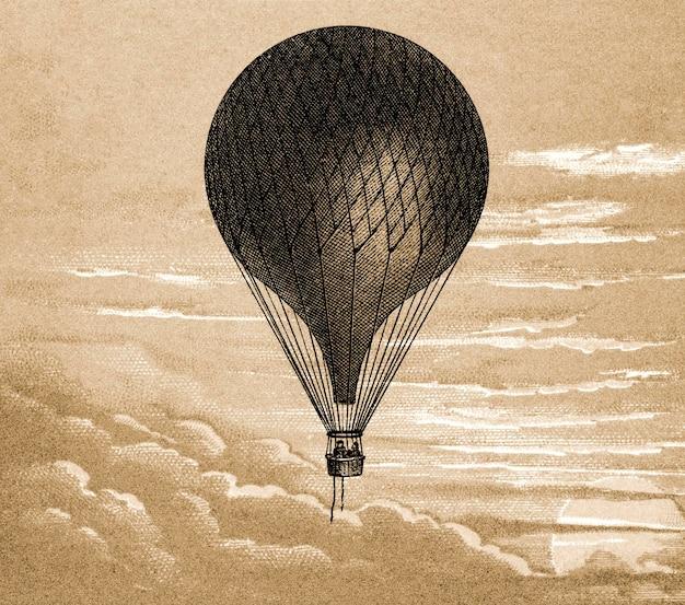 Ilustración vintage de globo flotante, remezcla de pintura original.