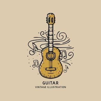 Ilustración vintage de instrumento de música de guitarra clásica