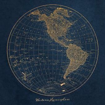Ilustración vintage del mapa del hemisferio occidental, remezcla de ilustraciones originales.