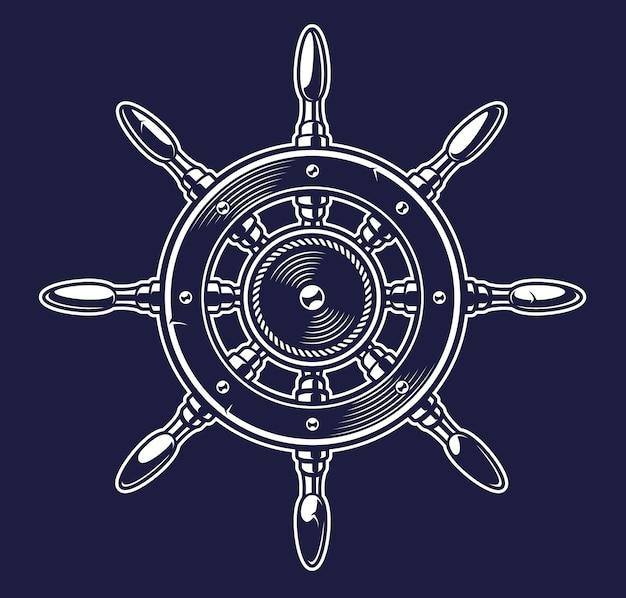 Ilustración vintage monocromo de un barco