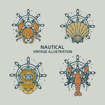 Ilustración vintage náutica de cangrejos, mariscos, camarones y buzo cascos
