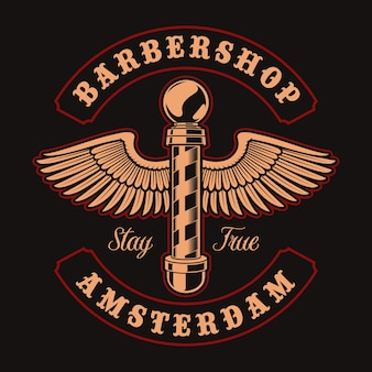 Ilustración vintage de poste de peluquero con alas sobre fondo oscuro. esto es perfecto para logotipos, estampados de camisetas y muchos otros usos.