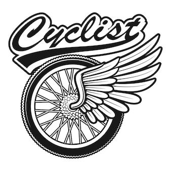 Ilustración vintage de una rueda de bicicleta con ala sobre fondo blanco.