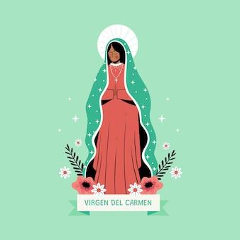 Ilustración de la virgen del carmen