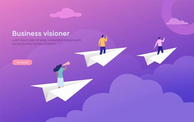 Ilustración de visión empresarial, personaje plano de pie en avión de papel con binoculares, personas que logran el objetivo