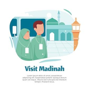 Ilustración de visitar medina y peregrinación.