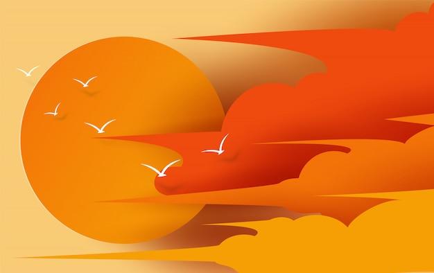 Ilustración de vista de cloudscape y puesta de sol