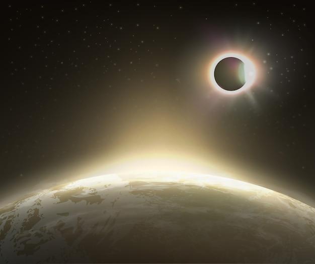 Ilustración de la vista del eclipse solar desde el espacio con la tierra en el fondo