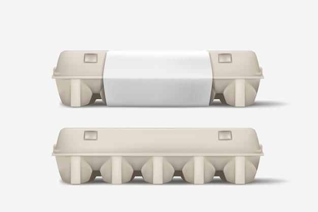 Ilustración de la vista lateral de la caja de huevos cerrada con sombra realista suave sobre fondo blanco