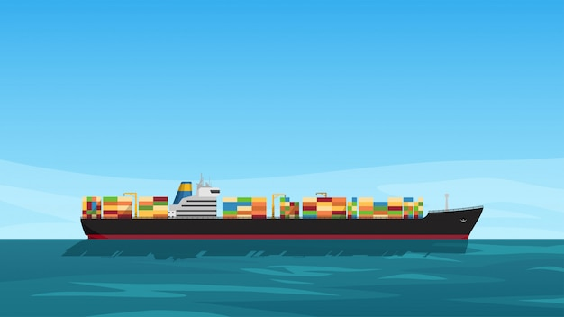 Ilustración de la vista lateral del petrolero lleno de contenedores de colores en el mar con el cielo