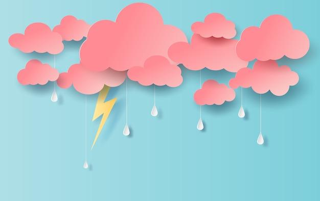 Ilustración de la vista de lluvia con nubes y amarillo