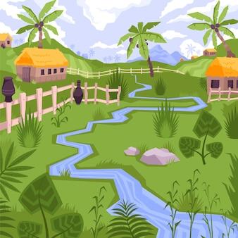 Ilustración con vista de pueblo exótico con casas, arroyo y plantas tropicales