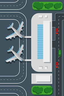 Ilustración de la vista superior del aeropuerto.