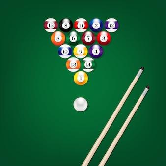 Ilustración de la vista superior de bolas de billar