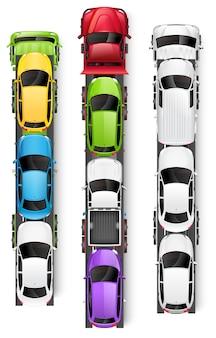 Ilustración de vista superior de camiones transportadores de automóviles